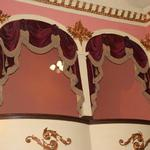 The box seats in historic Thespian Hall, oldest theatre west of the Alleghnies, in Boonville, Missouri.  These lush velvet swags and cascades are trimmed in six inch gold bullion fringe and lined in gold moire.