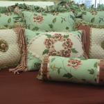 A collection of custom silk pillows for the mistress of a Victorian home.